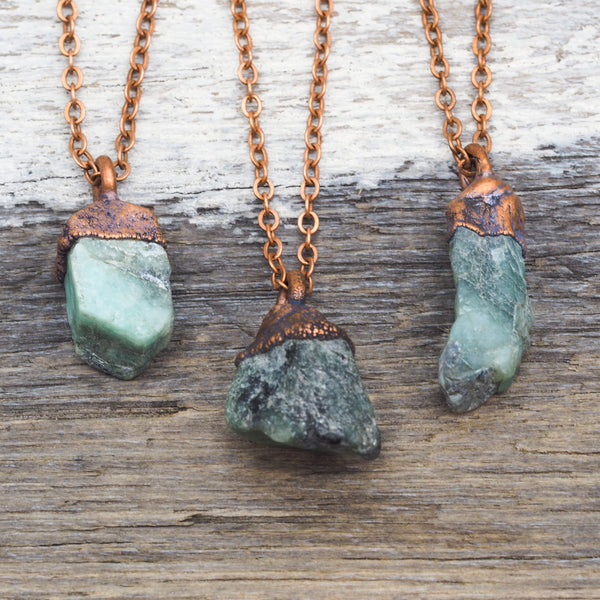 Raw Emerald and Copper Necklace. Bohemian Jewellery. Indie and Harper