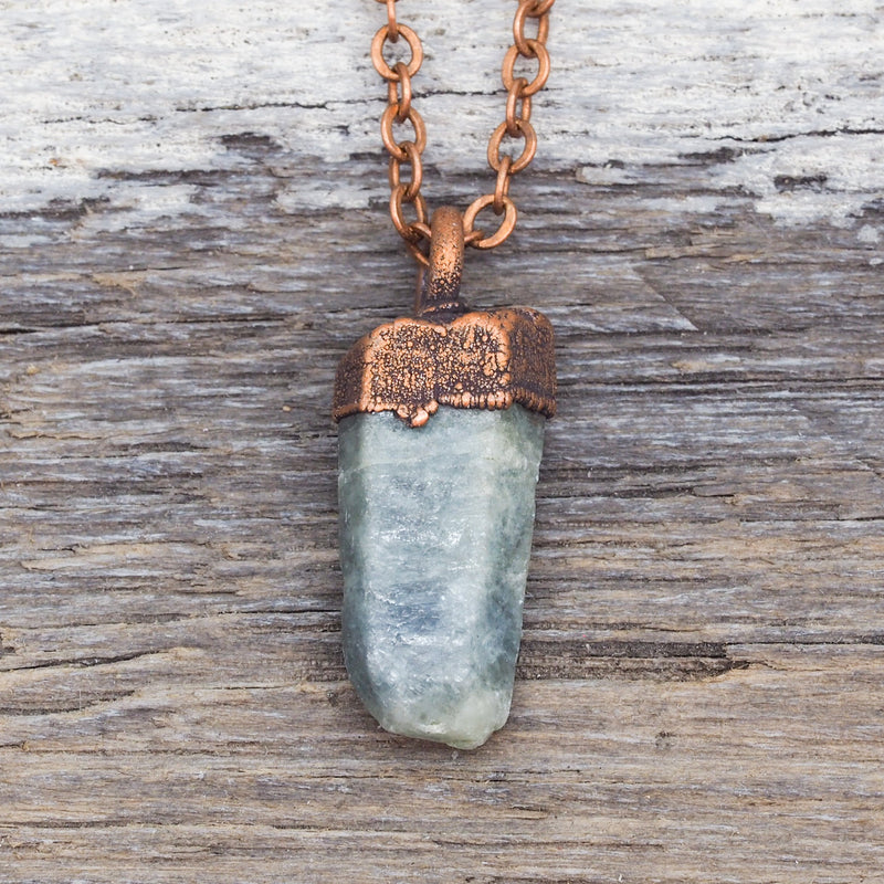 Raw Green Sapphire and Copper Necklace. Bohemian Jewellery. Indie and Harper