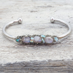 Raw Australian Opal and Moonstone Cuff. Bohemian Jewellery. Indie and Harper