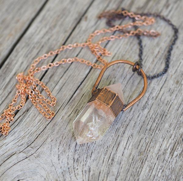 Raw Quartz and Copper Necklace. Bohemian Jewellery. Indie and Harper