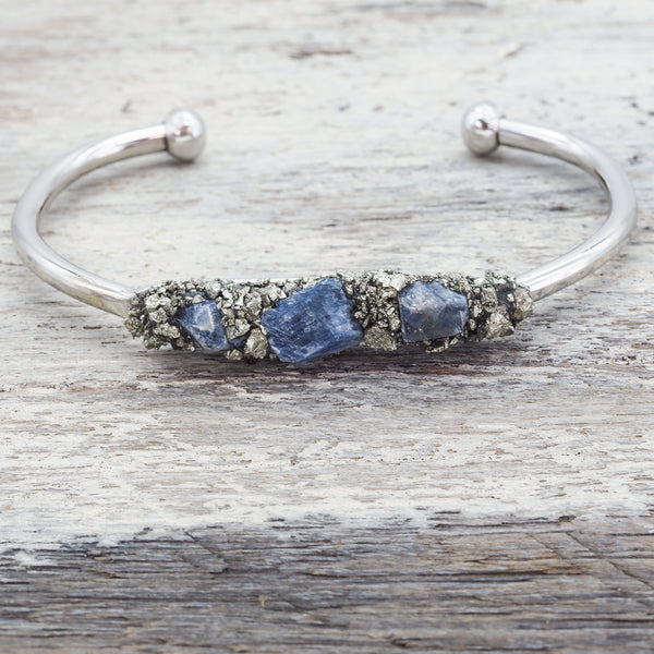 Raw Sapphire and Pyrite Cuff. Bohemian Jewellery. Indie and Harper