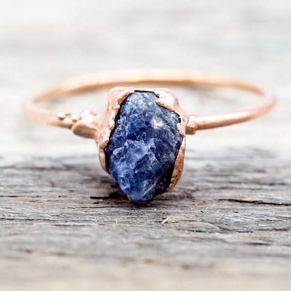 Raw Sapphire and Rose Gold Ring. Bohemian Jewellery. Indie and Harper