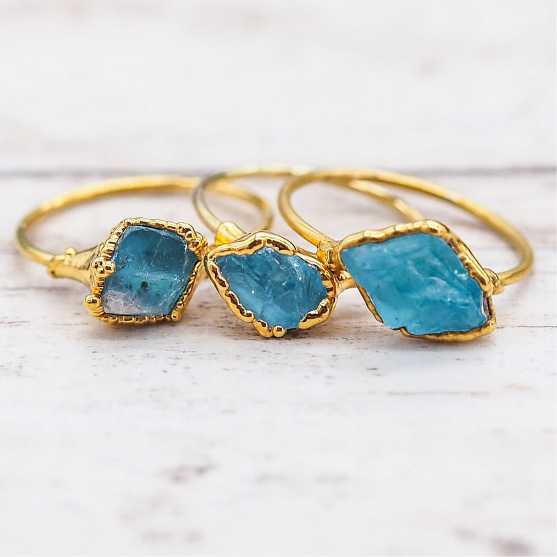 Raw Teal Apatite Ring. Bohemian Jewellery. Indie and Harper