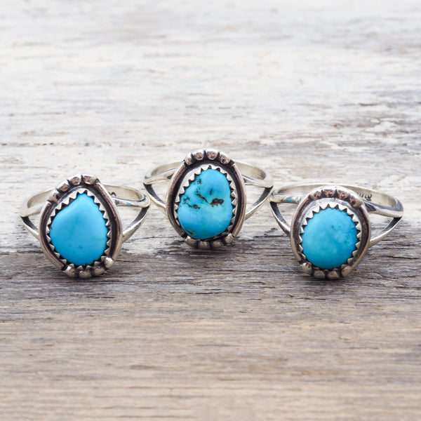Raw Turquoise Stone Navajo Ring. Bohemian Jewellery. Indie and Harper