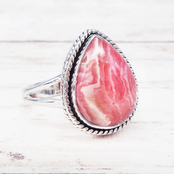Rhodochrosite Rain Drop Ring. Bohemian Jewellery. Indie and Harper