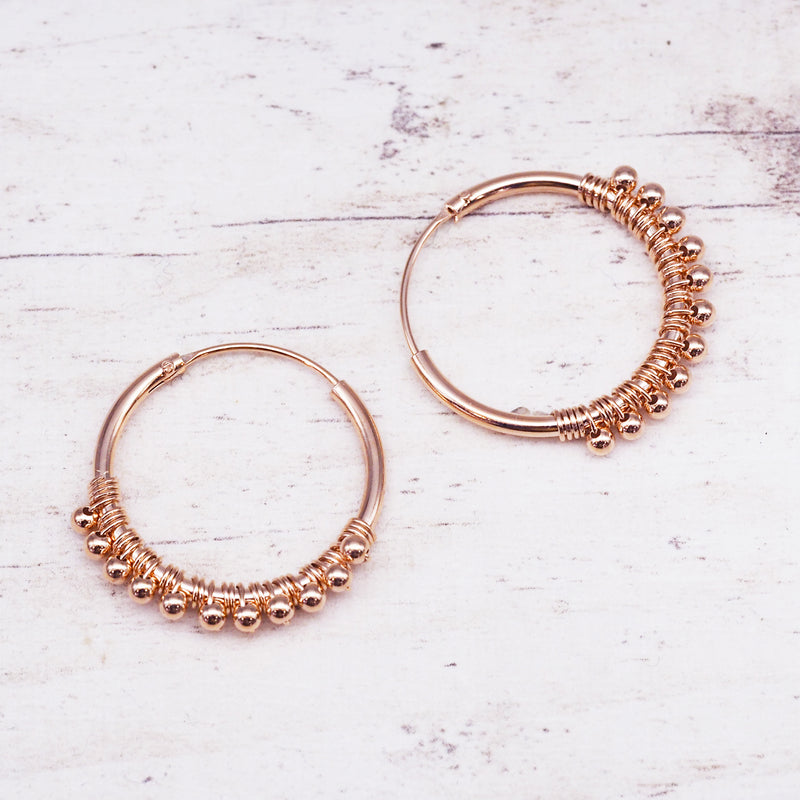 Rose Gold Beaded Hoops. Women's Jewellery. Indie and Harper