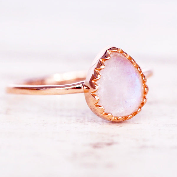 Rose Gold Classic Moonstone Droplet Ring