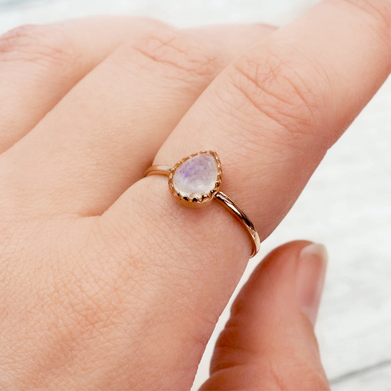 Rose Gold Classic Moonstone Droplet Ring - Women's Jewellery - Indie and Harper
