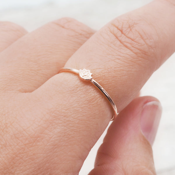 Rose Gold Dainty Lotus Flower Ring - Women's Jewellery - Indie and Harper