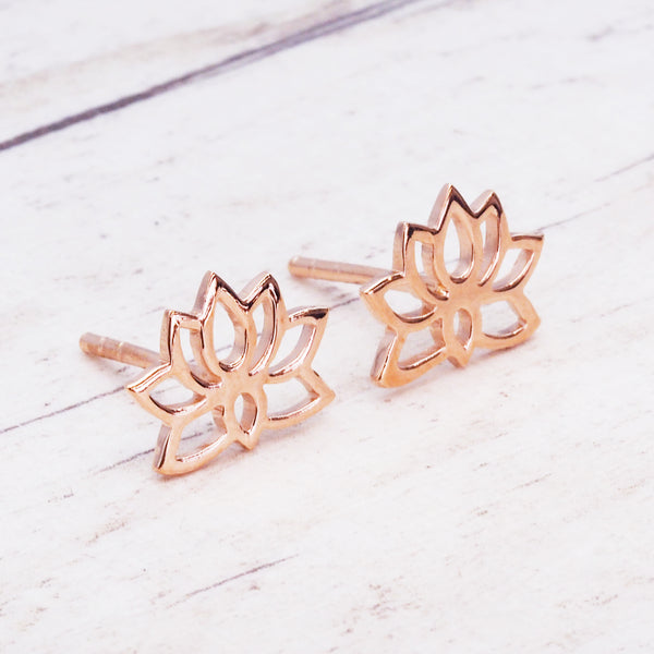 Rose Gold Dainty Lotus Flower Studs - Women's Jewellery - Indie and Harper