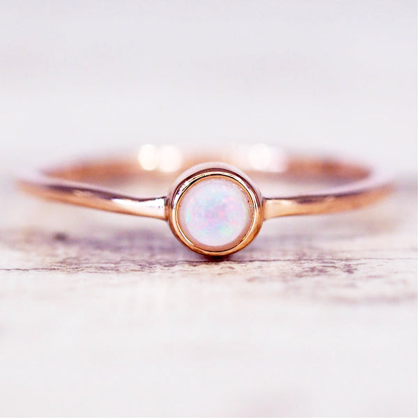 Rose Gold Dainty Opal Earrings - Women's Jewellery - Indie and Harper
