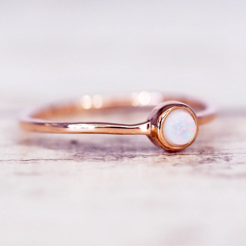 Rose Gold Dainty Opal Ring - Women's Jewellery - Indie and Harper