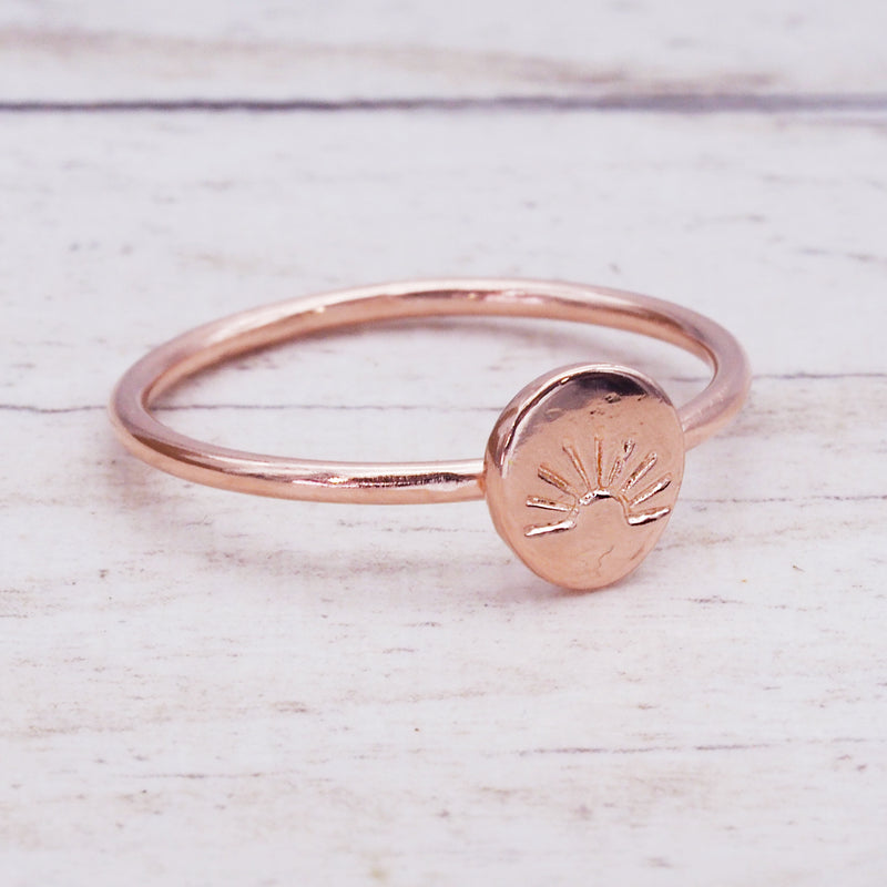 Rose Gold Dainty Rising Sun Ring - Women's Jewellery - Indie and Harper