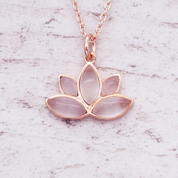 Rose Gold Lotus Necklace - Women's Jewellery - Indie and Harper