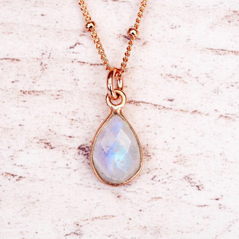 Rose Gold Moonstone Droplet Necklace - Women's Jewellery - Indie and Harper