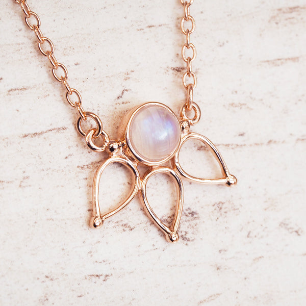 Rose Gold Moonstone Lotus Necklace - Women's Jewellery - Indie and Harper