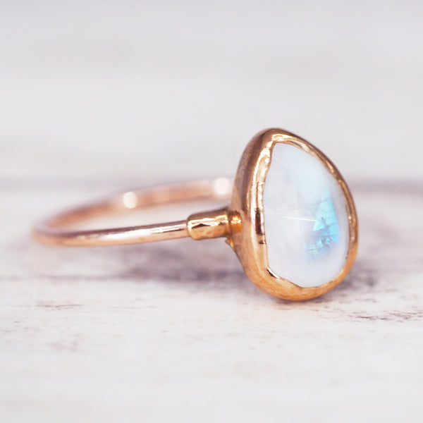 Rose Gold Moonstone Tear Drop Ring - Women's Jewellery - Indie and Harper