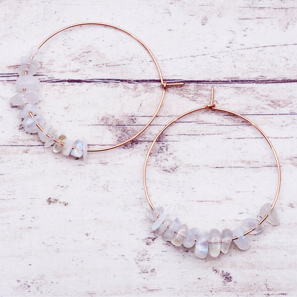Rose Gold Multi Moonstone Earrings - Women's Jewellery - Indie and Harper