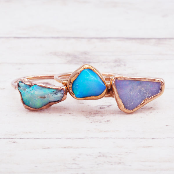 Rose Gold Raw Australian Opal Ring - Women's Jewellery - Indie and Harper