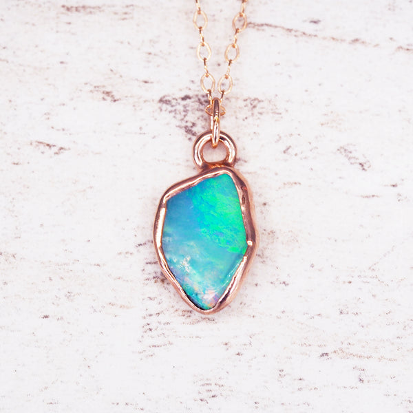Rose Gold Raw Australian Opal Necklace - Women's Jewellery - Indie and Harper