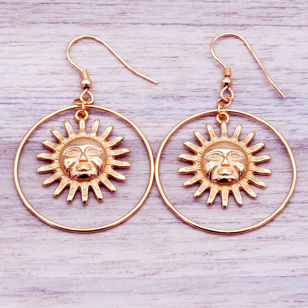 Rose Gold Sun Hoop Earrings - Women's Jewellery - Indie and Harper
