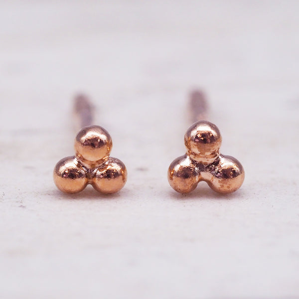 Rose Gold Triad Studs. Women's Jewellery. Indie and Harper