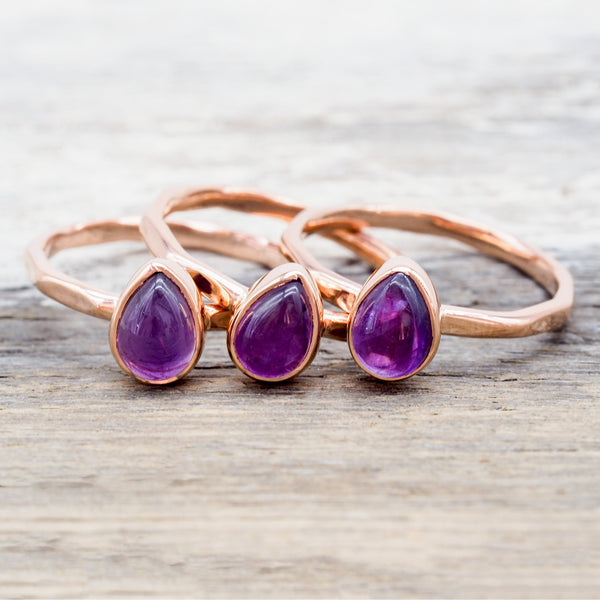 Rose Gold Amethyst Ring. Bohemian Jewellery. Indie and Harper