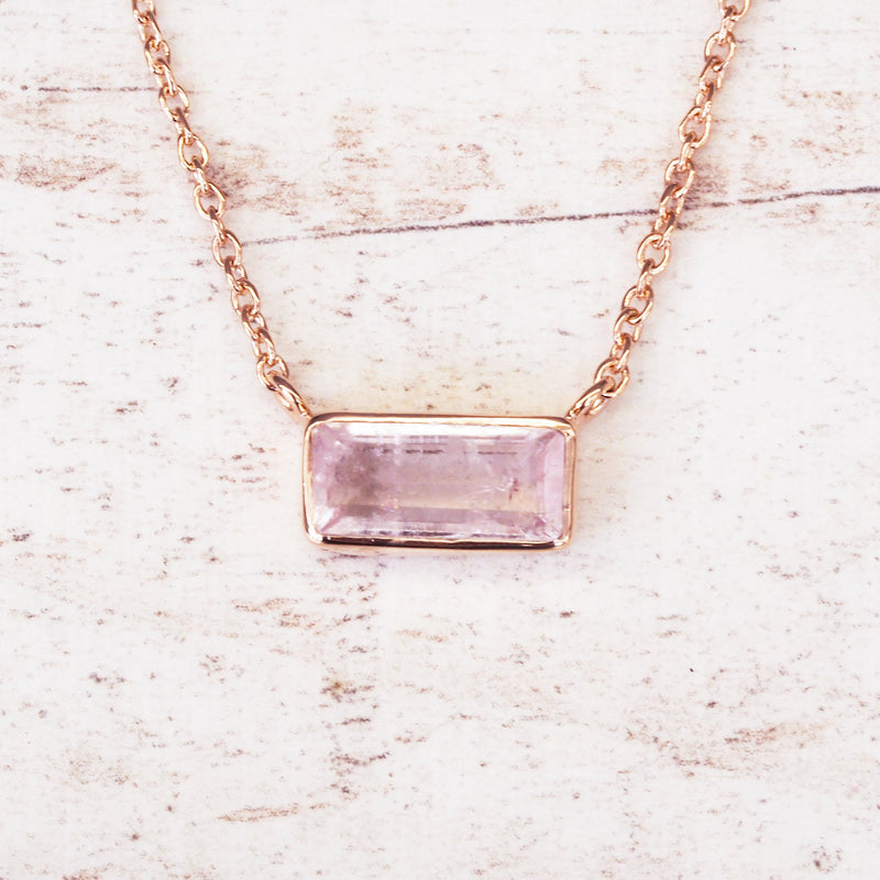 Rose Gold Amore Morganite Necklace. Bohemian Jewellery. Indie and Harper