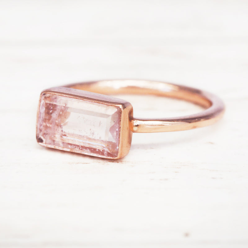 Rose Gold Amore Morganite Ring. Bohemian Jewellery. Indie and Harper
