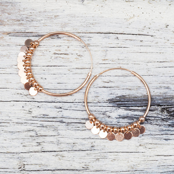 Rose Gold Celestial Hoops. Bohemian Jewellery. Indie and Harper