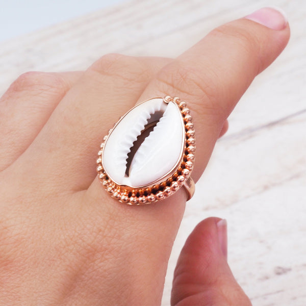 Rose Gold Cowrie Shell Ring. Bohemian Jewellery. Indie and Harper