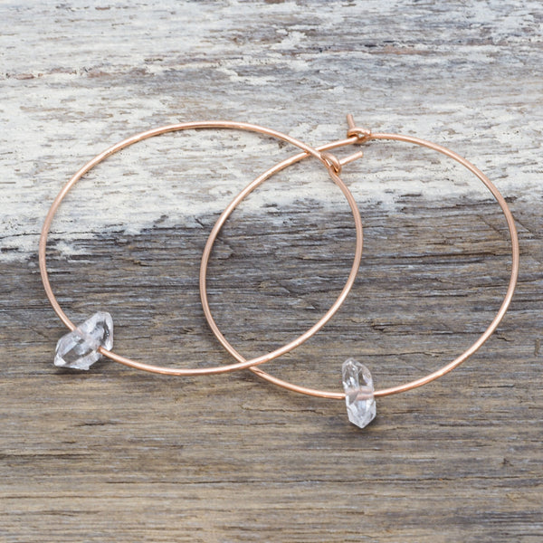 Rose Gold Dainty Herkimer Hoop Earrings. Bohemian  Jewellery. Indie and Harper