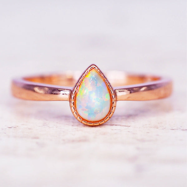 Rose Gold Dainty White Droplet Ring. Bohemian Jewellery. Indie and Harper