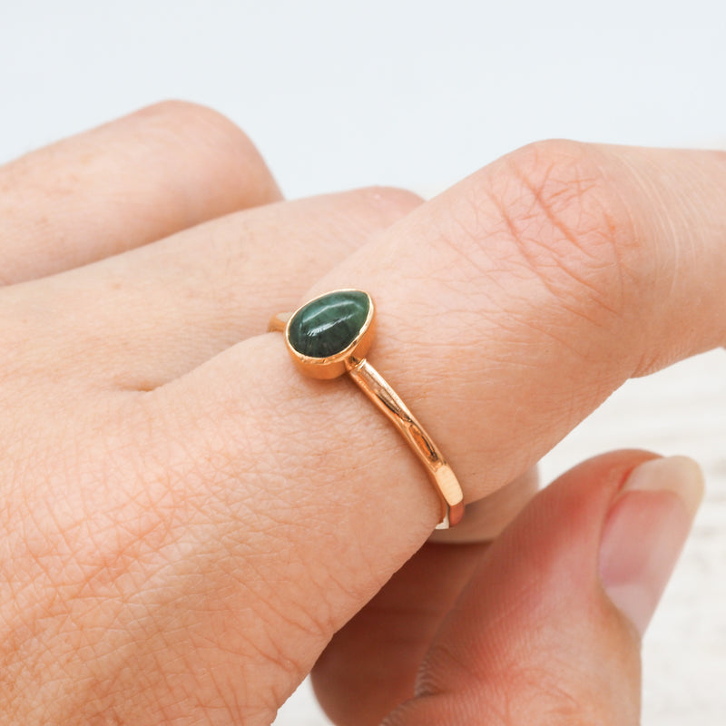 Rose Gold Emerald Ring. Bohemian Jewellery. Indie and Harper