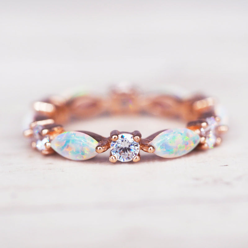 Rose Gold Everlasting Opal Ring. Bohemian Jewellery. Indie and Harper