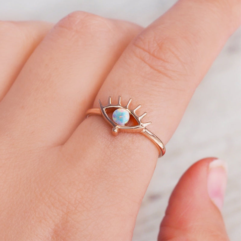 Rose Gold Evil Eye Opal Ring. Bohemian Jewellery. Indie and Harper