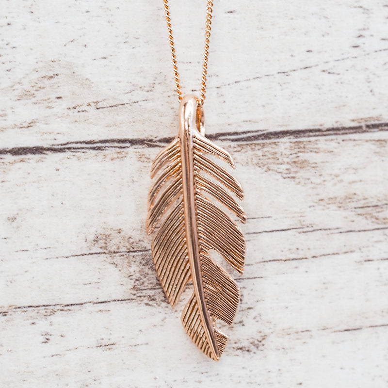 Rose Gold Feather Necklace. Bohemian Jewellery. Indie and Harper