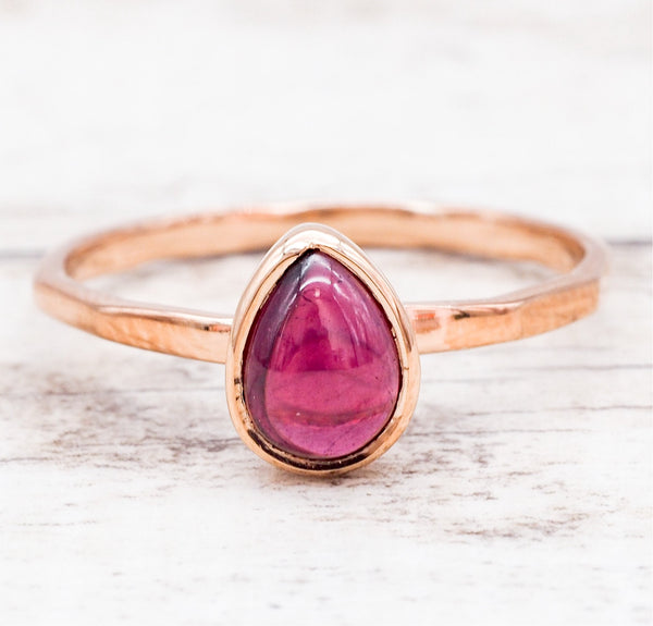 Rose Gold Garnet Ring. Bohemian Jewellery. Indie and Harper