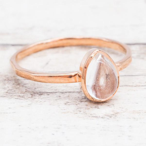 Rose Gold Herkimer Ring. Bohemian Jewellery. Indie and Harper