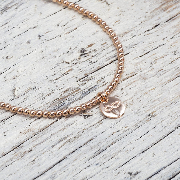 Rose Gold Infinity Bracelet. Bohemian Jewellery. Indie and Harper