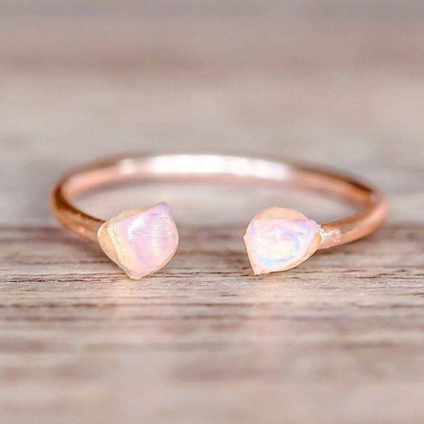 Rose Gold Little Raw Opal Ring. Bohemian Jewellery. Indie and Harper