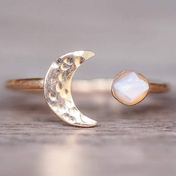 Rose Gold Little Raw Opal and Moon Ring. Bohemian Jewellery. Indie and Harper
