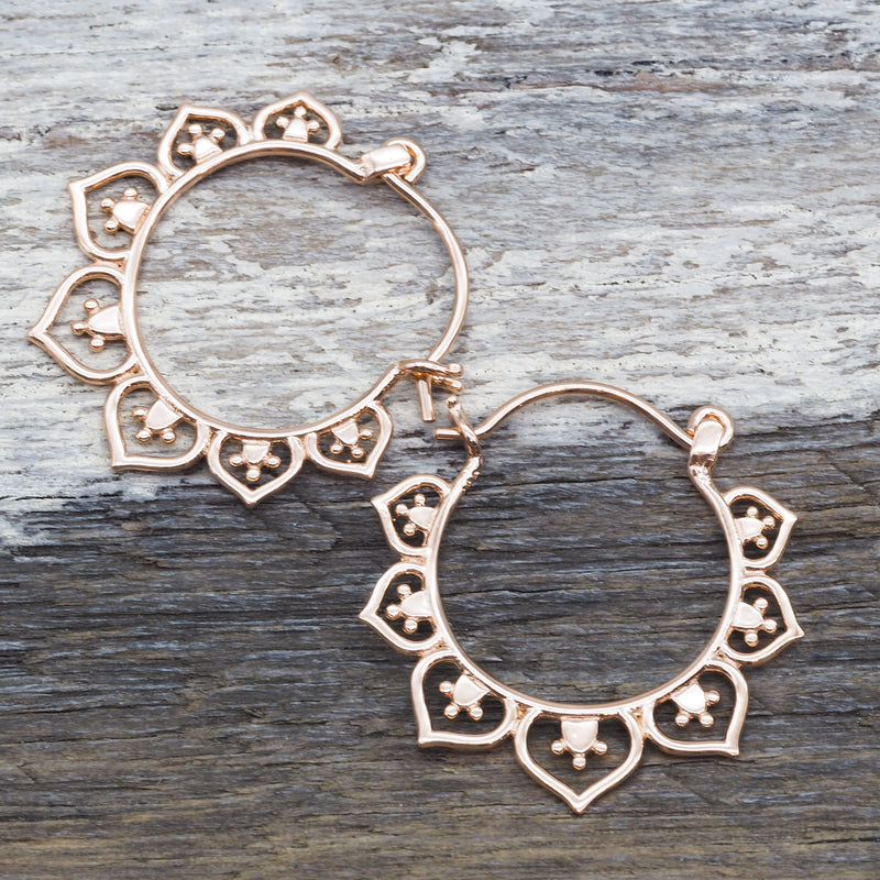 Rose Gold Lotus Hoops. Bohemian Jewellery. Indie and Harper