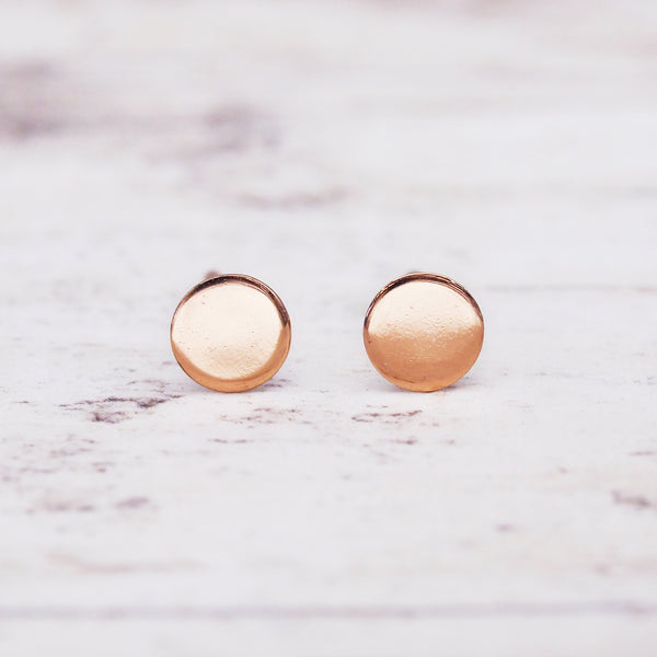 Rose Gold Mini Disc Earrings. Women's Jewellery. Indie and Harper