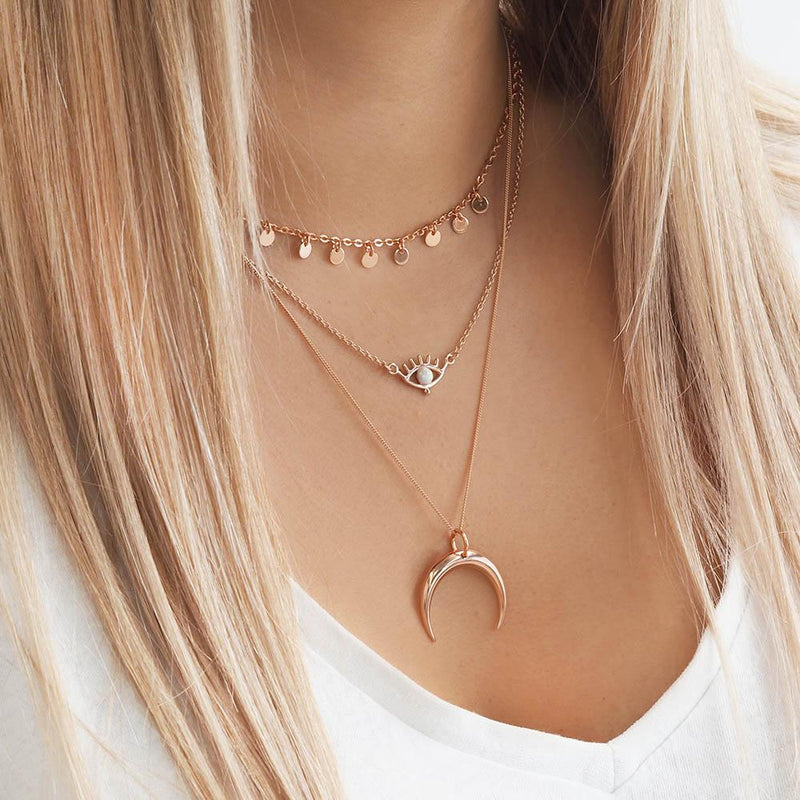 Rose Gold Mini Disc Necklace. Bohemian Jewellery. Indie and Harper