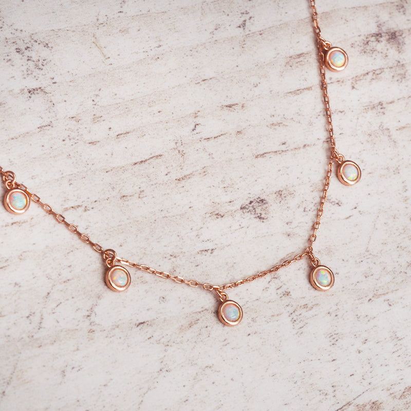Rose Gold Moonlight Opal Necklace. Bohemian Jewellery. Indie and Harper