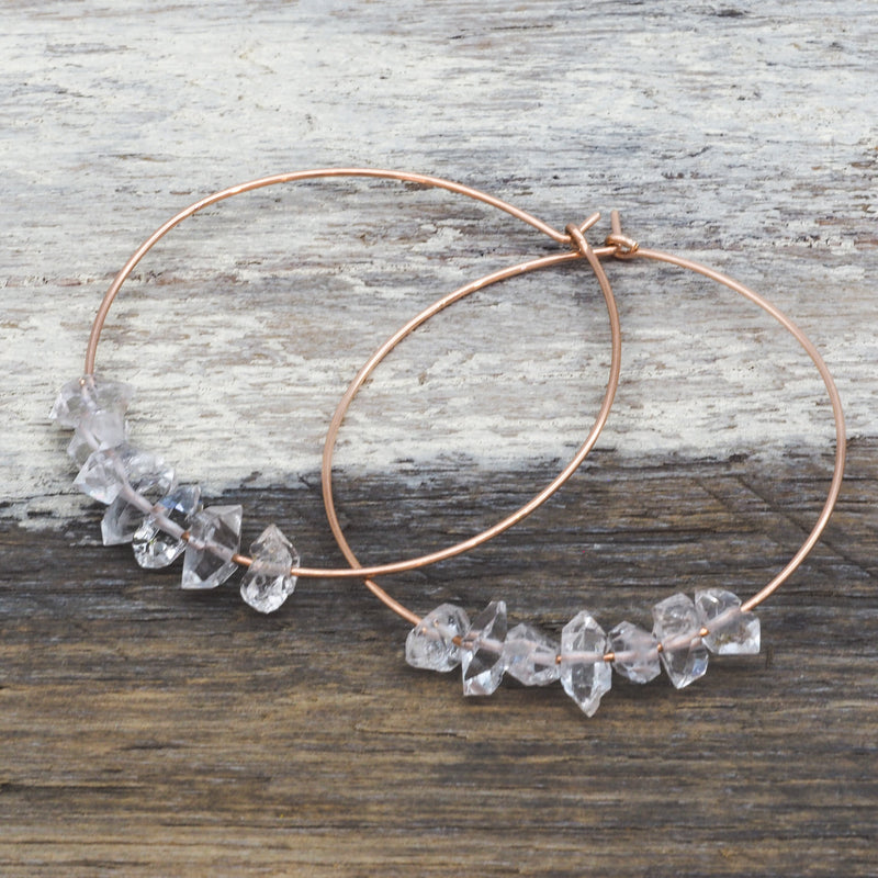 Rose Gold Multi Herkimer Hoops. Bohemian Jewellery. Indie and Harper