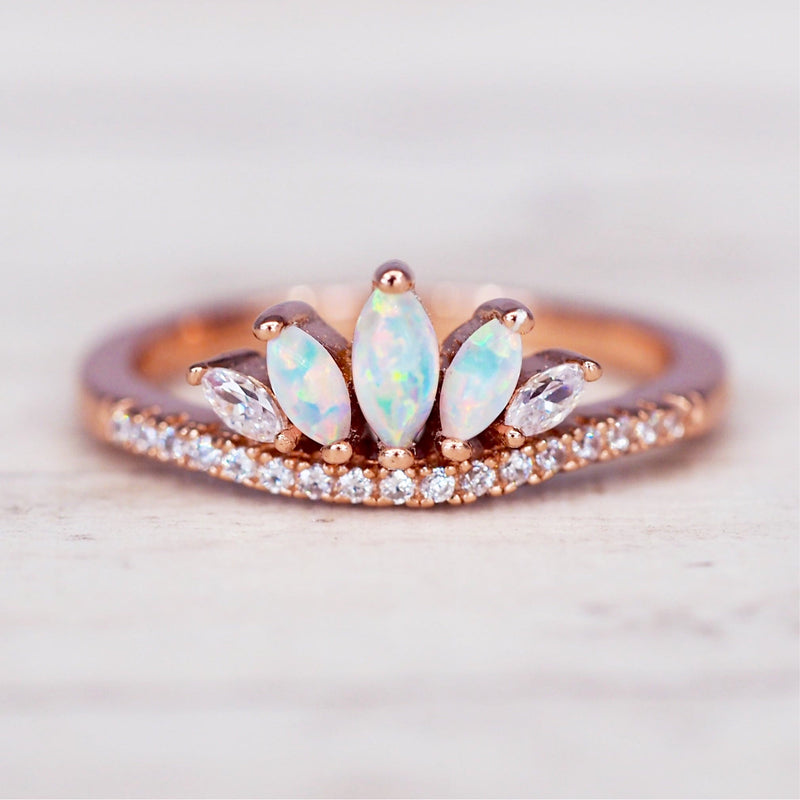 Rose Gold Opal Windsor Ring. Bohemian Jewellery. Indie and Harper