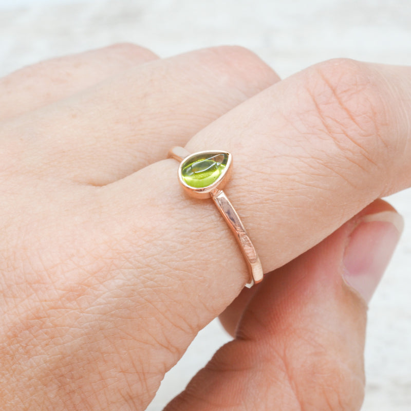 Rose Gold Peridot Ring. Bohemian Jewellery. Indie and Harper