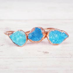 Rose Gold Aquamarine Ring. Bohemian Jewellery. Indie and Harper